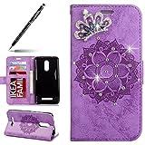 Uposao Lederhülle für Xiaomi Redmi Note 3 Handyhüllen Kristall Glitzer Strass Ledertasche Henna Mandala Blumen Muster Lederhülle Brieftasche Flip Case Cover Klapphülle mit Kartenfach,Lila