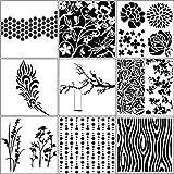 YEep Set von 9 Zeichnungs-Schablonen – verschiedene Muster, Kunststoff, Planer, DIY Zeichnung, Malschablone für Tagebuch, Scrapbooking, Karten und Kunstprojekte – Pflanze