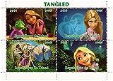 Disney Tangled Film de feuillet de 4 timbres de collection avec Raiponce et Flynn Rider / 2014 / Tchad