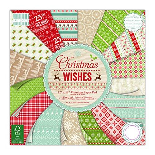 First Edition Premium Papier Pad 12Zoll x 12Zoll 4Weihnachten Wishes -