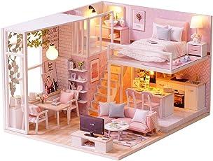 Decdeal DIY Puppenhaus Rosa Stil Loft Schlafzimmer Küche Wohnzimmer 3D Holz Miniaturhaus Kit mit LED Licht Kunsthandwerk Geschenk für Valentinstag, Kindertag, Weihnachten, Hochzeit