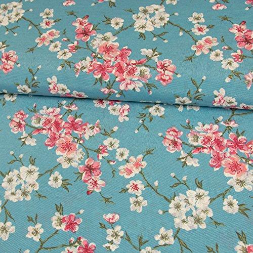 Stoffe Werning Dekostoff Kirschblüten türkis rosa pink Canvasstoff Dekorationen Meterware Blumen - Preis Gilt für 0,5 Meter (Blumen Türkis)