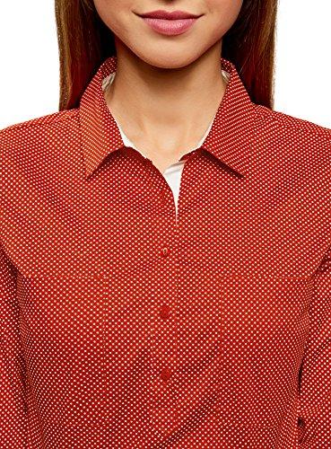 oodji Ultra Donna Camicia Basic con Tasche sul Petto Rosso (4512D)