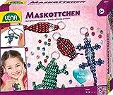 Lena 42688 - Bastelset für 4 Maskottchen, Komplettset für 4 Glücksbringer mit 290 metallicfarbenen Fädelperlen, schwarzem Kordelband, 4 Schlüsselringe und Anleitung, Set für Kinder ab 6 Jahre