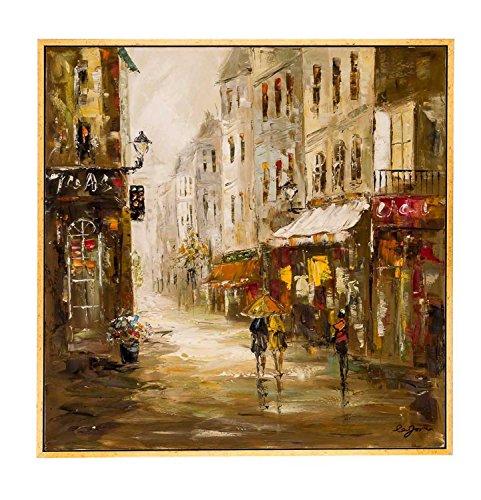 Original Ölgemälde Altstadt Cafe Restaurant City - Moderner Stil - 104cm - Cafe Leinwand