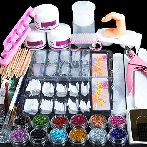 Fashion Gallery Manicure Kit Nail Tips False Nails Nail Art Glitter Decoration Set