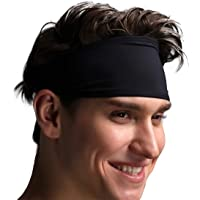 VIMOV Mens Headband - Sports Sweatband for Running, Cycling, Yoga, Basketball - Stretchy Moisture Wicking Hairband, 2…