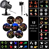 Xmas Decorative Projector Lights Outdoor, ONEVER Led Christmas Landscape Lightings Waterproof, 12 Replaceable Pattern Slides for Christmas Halloween Birthday Wedding Parties