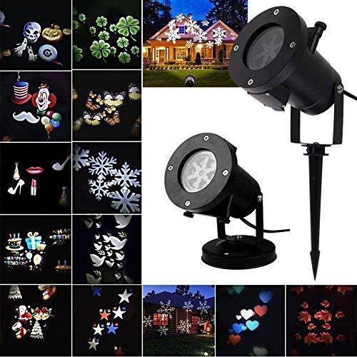 MATMO Projektionslampe Effektlicht mit 12 Wechselbare Pattern, LED Projektor Lichter für Innen und Außen Dekoration, Ideal für Weihnachten, Geburtstag, Weihnachtsbeleuchtung usw.