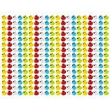 Wellgro 200 paperelle da Bagno (Giallo, Rosso, Bianco, Blu, Verde), Ogni Anatra da quitsche ca. 3,5 x 3 cm (ØxH), Anatra in Gomma, in Rete.