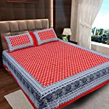 #9: Ahmedabad Cotton Jaipuri Collection 136 TC Cotton Double Bedsheet with 2 Pillow Covers - Red and Grey