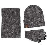Wintermütze Herren Mütze Schal Handschuh-Sets, Touchscreen Handschuhe Beanie Warme Mütze Strickmütze Winterschal Herren mit Fleecefutter (Hellgrau)