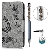 Huawei P8 Lite 2017 Hülle Case KASOS Leder Handyhülle Brieftasche Book Type PU Leder Tasche Gemalt Magnetverschluss Ledertasche Cover, Blume-Schmetterling-grau + Stöpsel + Stylus