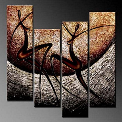 Wieco Art African Dancers Abstract Oil Paintings on Canvas Modern Canvas Wall Art Contemporary Artwork for Wall Decorations Home Decor