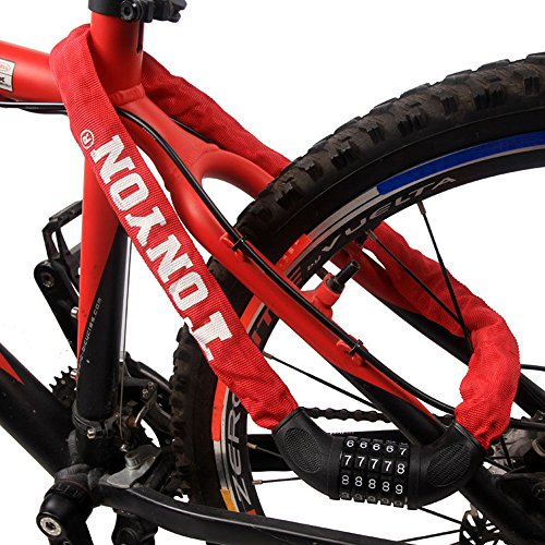 Tofern Chaîne Antivol Serrure Code Vélo Moto Anti-crochetage Anti-corrosion Résistance à Effraction Cadenas à Combinaison Flexible VTT Vélo Route Vélo Pliant Fixie VTC Trottinette Scooter rouge