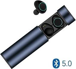 Bluetooth Kopfhörer in Ear kabellos, Bluetooth 5.0 Muzili Bluetooth Headset Kabellos Bluetooth Earbuds Touchscreen Kabellos Ohrhörer mit Mikrofon für iPhone und Android mit tragbarer Ladebox(Blau)