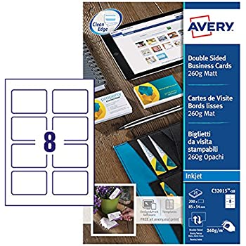 Avery C32015 10 Printable Double Sided Business Cards 8 Per A4 Sheet
