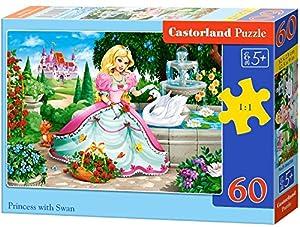 Castorland Princess with Swan 60 pcs Puzzle - Rompecabezas (Puzzle Rompecabezas, Dibujos, Niños, Chica, 5 año(s), Interior)