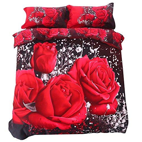 Bettwäsche 4 Teilig Baumwolle Rosen Bettwäsche-Sets King Size Bettwäsche Garnitur 3D Effekt Bettbezug 220 * 230cm Rot Schwarz (King-size-decke-messungen)