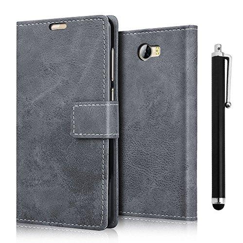 zStarLn® grau Hülle Case für Huawei Y6 II Compact / Y5 II - Schutzhülle Cover Bookstyle Retro Leder Tasche Zubehör Handytasche + Stylus pen und 3 Schutzfolien