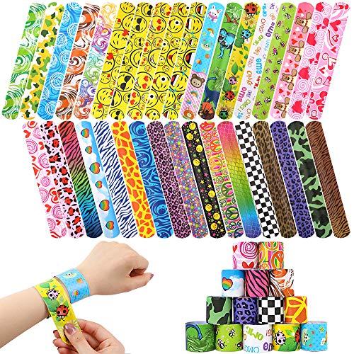 schiedene gemischte Muster Kreise Retro Slap Armbänder Schnapparmbänder für Kinder Erwachsene Party-Pakete ()