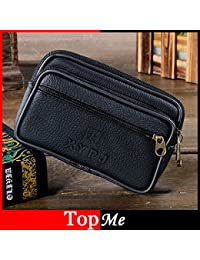 Buyworld Men Fanny Pack Mobile Phone Bag Black Pu Good Quality Zipper Coin Purse Burse Good Quality Bags Casual...