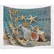 "A.Monamour Barco De Madera Azul Decoración Náutica Mar Marina Red De Pesca Estrellas De Mar Y Conchas Impresión De Tela Pared De Tela Tapicerías Decoración De Pared Para Dormitorio 153X229Cm / 60 ""X90"""