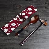 Essstäbchen Löffel Set Japanische Natur Chopsticks stäbchen aus umweltfreundlichem hölzernen in edler Schatulle Geschenkbox (RED)