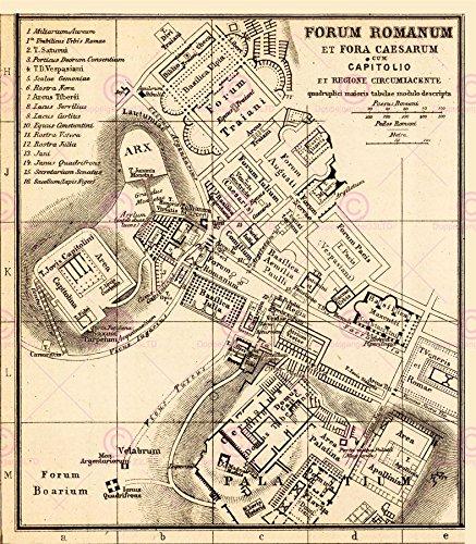 Doppelganger33 LTD Map Antique Kiepert 1903 Forum Rome Ancient Large Replica Canvas Art Print -