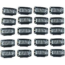 Golden Rule extensión de pelo clips 20 piezas negro 9 dientes snap-comb peluca clips