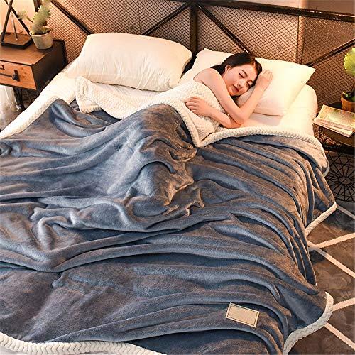 flanellbettlaken Flanellbettlaken und Beibei Decken-Luxury Flanell und Beibei Decken Super Soft Fluffy Warm Mikrofaser-Massivdecke 180x200cm,Hellblaue Asche
