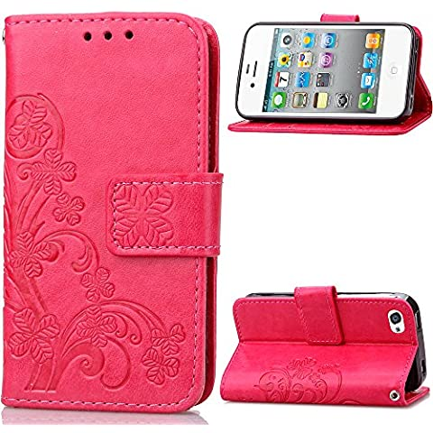 Custodia iphone 4 / 4S Cover Red Rose, Cozy hut [Retro] [Matte] Retro lucky Clover Modello Design Con Cinturino da Polso Magnetico Snap-on Book style Internamente Silicone TPU Custodie Case in pelle Protettiva Flip Cover Per Apple iphone 4 / 4S (3,5 Zoll) - Rose Red Clover
