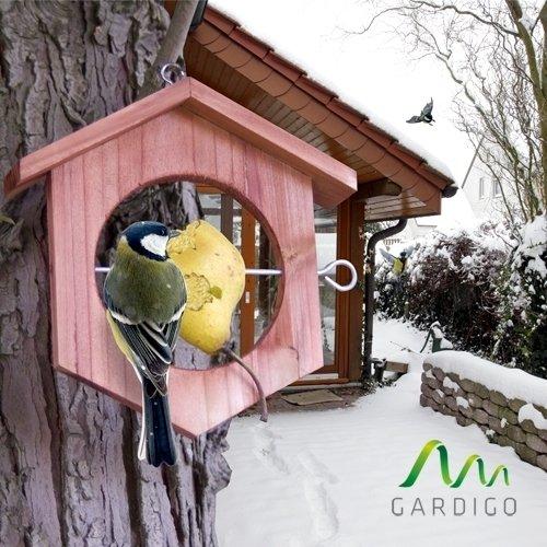 Gardigo Apfel Futterstation Meisenknödelhalter Futterhalter aus Holz - 2