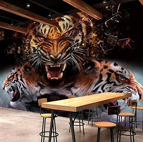 Benutzerdefinierte Fototapete Tiger Lion Elephant Animal Großes Wandgemälde 3D Wohnzimmer Tapete Korn Leopard Tiermalerei Tapete, 200 × 150 cm -
