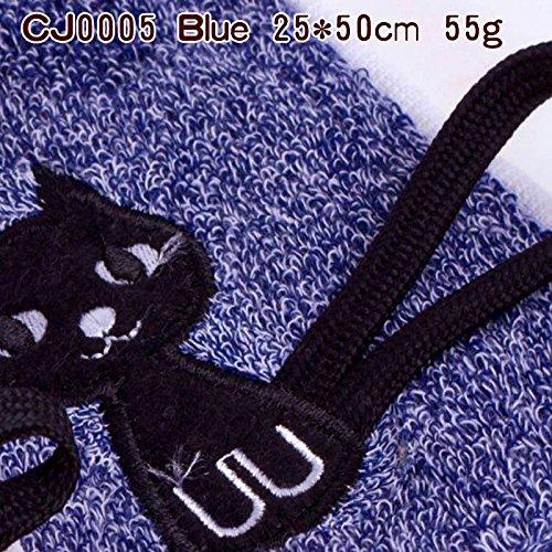 junchen Vaisselle Éponge de tissu coton enfant Mode Cartoon Chat Serviettes Livraison gratuite de couleur vive, éponge cj0005 Bleu, 25 x 50 cm