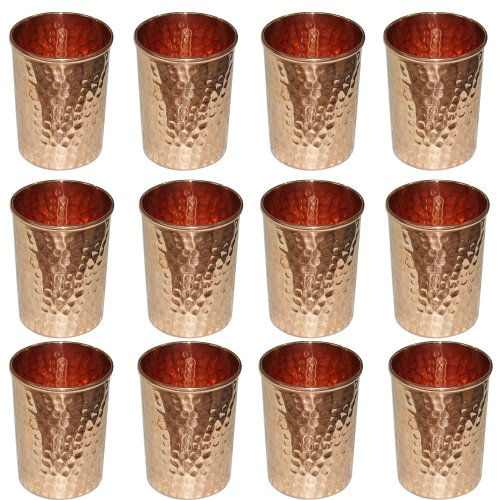 Vaso cobre vidrio martillado para la curación ayurvédica de producto