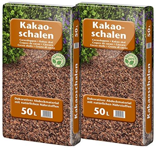 Floragard Kakaoschalen Mulch 2x50 L - zum Abdecken von Pflanzflächen, Gehölz- und Staudenbeeten - natürliche Inhaltsstoffe - unterdrückt Unkrautwuchs - 100 L -