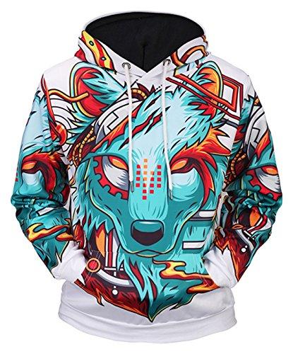 Pizoff Unisex Hip Hop Sweatshirts druck Kapuzenpullover mit Farbkleks 3D Digital Print wolf, Y1760-74, Gr. L
