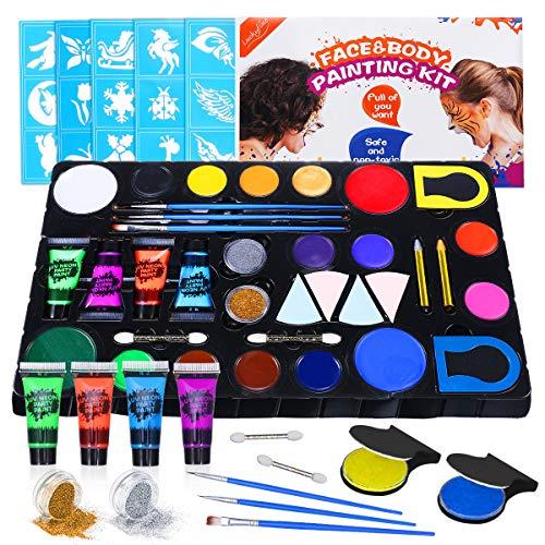 Kinderschminke Schminke Set, Luckyfine Bodypainting Kit für Weihnachten Karneval & Halloween, 16 Körperfarben mit 4X UV Neon Farben, 2X Glitzer, 2X Haarfarbe und 30X Schablonen usw.