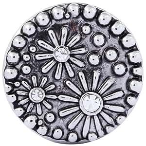 Morella Damen Click-Button Druckknopf Blumen silber