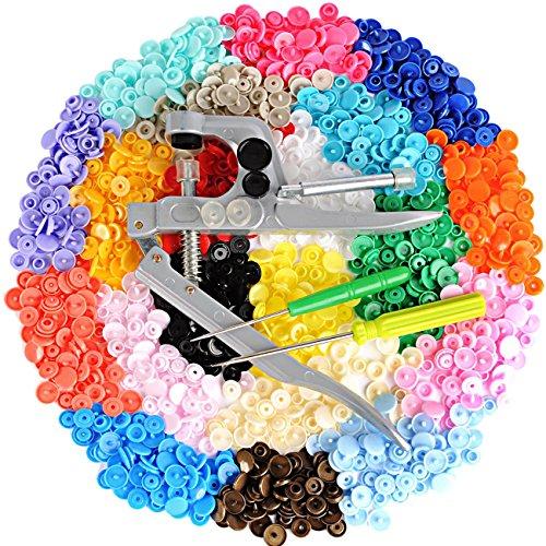 LIHAO Snaps Zange mit 300 Set T5 Druckknöpfe in 20 Farben Nähfrei Buttons für DIY Basteln Stoff-snap