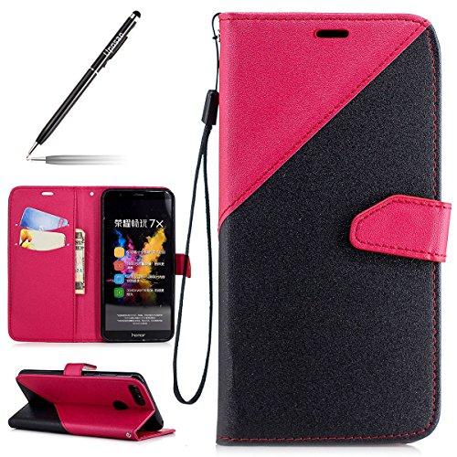 Uposao Handyhülle für Huawei Honor 7X Leder Tasche Schutzhülle Luxus Handytaschen Ledertasche Lederhülle Klapphülle Book Case Wallet Flip Cover Kartenfach,Schwarz Rot
