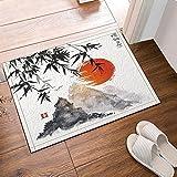 Nyngei Japanische Bambus Bäume Sonne und Berge Bad Teppiche Rutschfeste Bodeneingänge Outdoor Indoor Haustür Matte 60X40CM Badematte Bad Teppiche