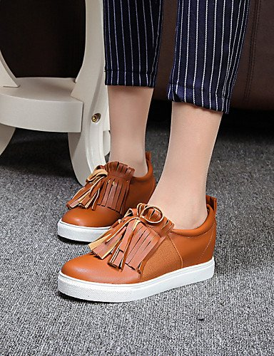 ZQ Scarpe Donna-Mocassini-Tempo libero / Formale / Casual-Zeppe / Punta arrotondata / Chiusa-Zeppa-PU-Nero / Marrone / Bianco , brown-us8 / eu39 / uk6 / cn39 , brown-us8 / eu39 / uk6 / cn39 black-us6 / eu36 / uk4 / cn36