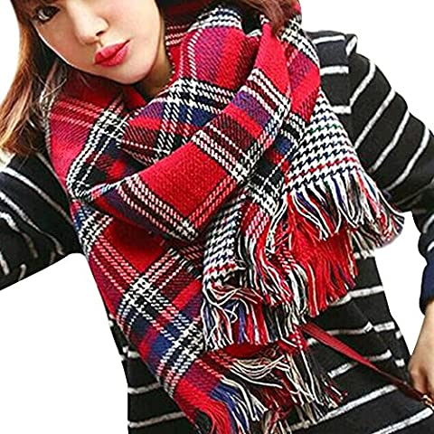 Eizur Women Ladies Elegant Plaid Wraps Scarf Vintage Tigre Cashmere