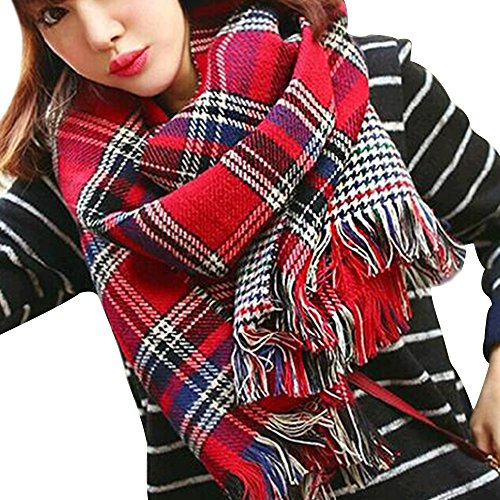 Eizur Femmes Élégant Tartan Écharpe Châle Ladies Imitation Cachemire Automne Hiver Longue Épais Chaud Foulard Surdimensionné Pashmina Wrap avec glands Taille 195*55cm