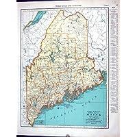 Mappa dell'Oggetto D'antiquariato di Collier 1936 Maine America Maryland Delaware di Mcnally del