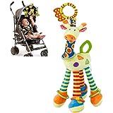 FPVRC Baby Kinderwagen Spielzeug mit Beißring, Bunt Giraffe Stofftier Kleinkindspielzeug Baby Autositz Spielzeug zum Aufhängen Greifen Beißen Spielen und Quietschen - Zahnen Spielzeug ab 0+ Monaten