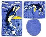 Badgarnitur 3-teilig blau weiß schwarz Wal / Orca Motiv ohne Ausschnitt für Hänge-WC. 80x50cm (große Matte), 50x40cm (kleine Matte)