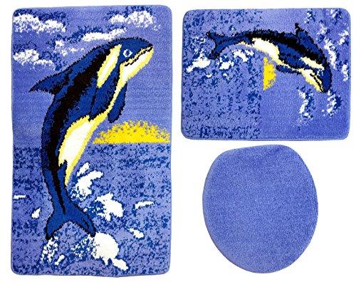 Badgarnitur 3-teilig Wal Motiv ohne Ausschnitt für Hänge-WC. 60x100cm (große Matte), 50x60cm (kleine Matte)